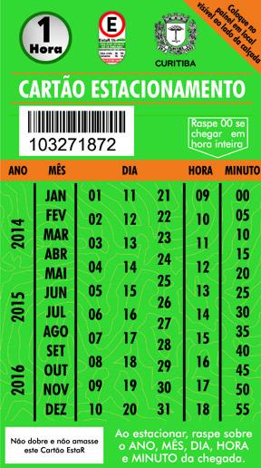 Os talões com o novo modelo de cartão do Estacionamento Regulamentado (EstaR) já estão disponíveis nas agências lotéricas da Caixa Econômica Federal em Curitiba. Foto: Divulgação